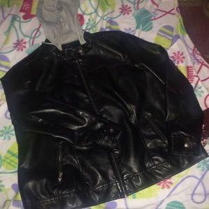 Leather like zip up coat lined w/hood